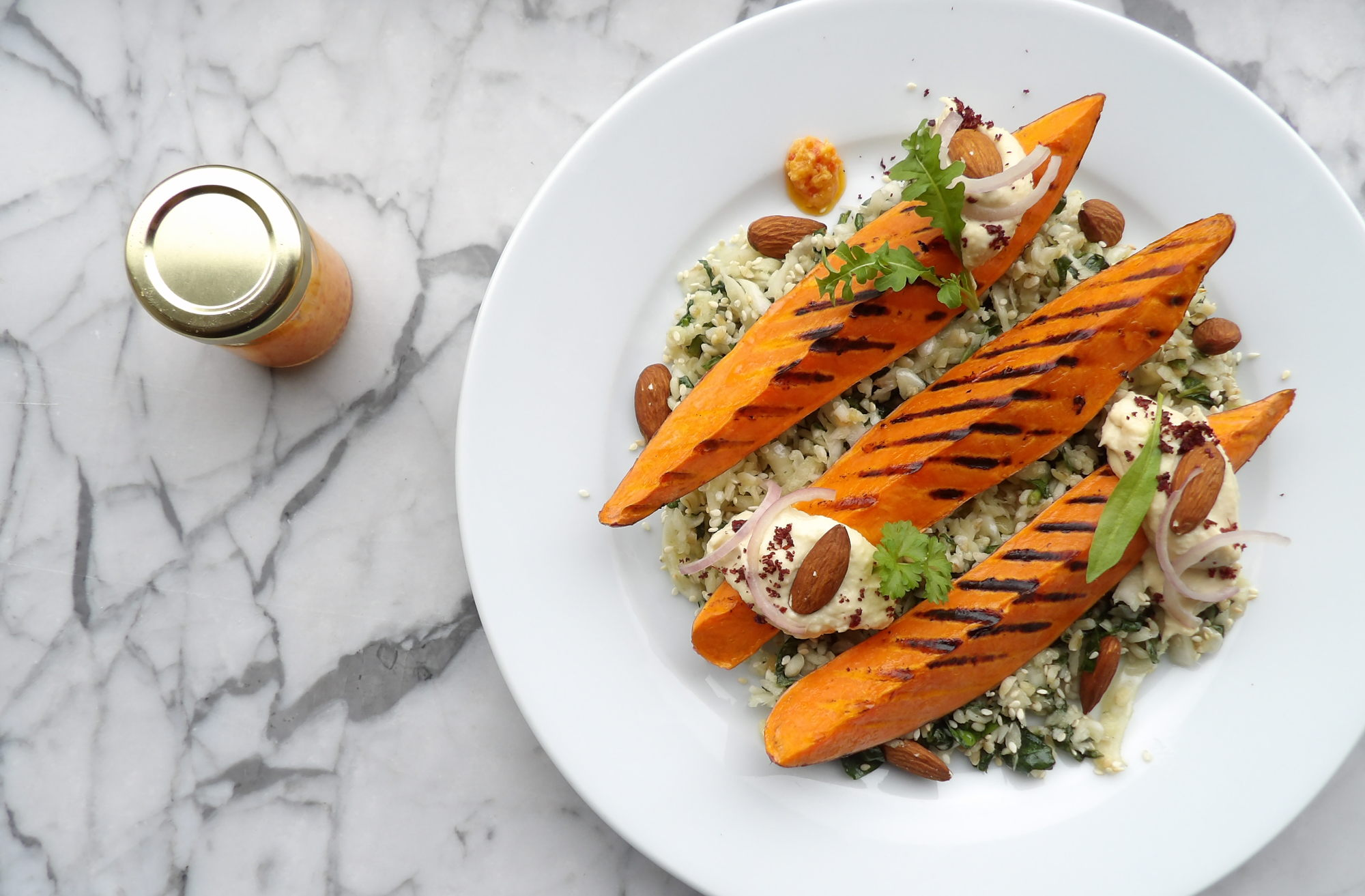 Grilled Sweet Potato with Cabbage Tabouleh and Almond Houmous