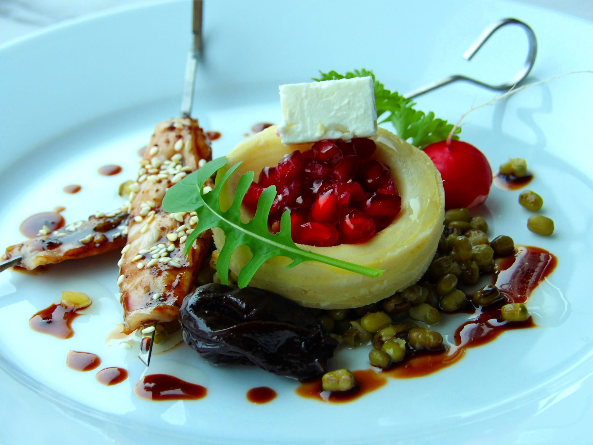 Green Mung Bean Salad & Rabbit Satays