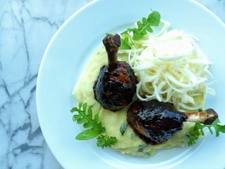 Chicken Lollipops & Mash with Sliced White Cabbage